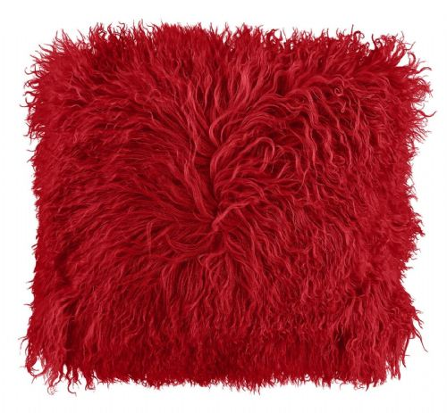 LUXURY FURRY MONGOLIAN SHAGGY FUR SUPER SOFT CUSHION COVER RED COLOUR
